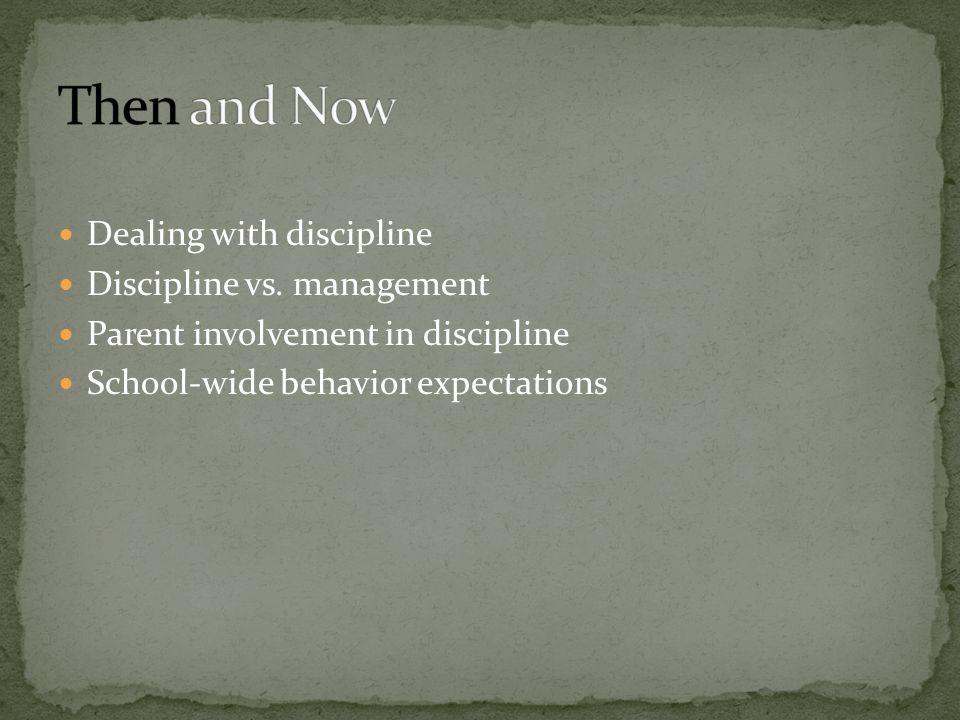 Dealing with discipline Discipline vs. management Parent involvement in discipline School-wide behavior expectations