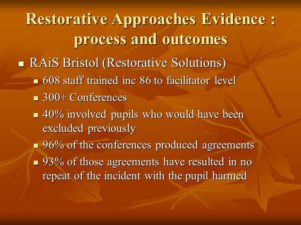 Restorative Approaches Evidence : process and outcomes RAiS Bristol (Restorative Solutions) RAiS Bristol (Restorative Solutions) 608 staff trained inc