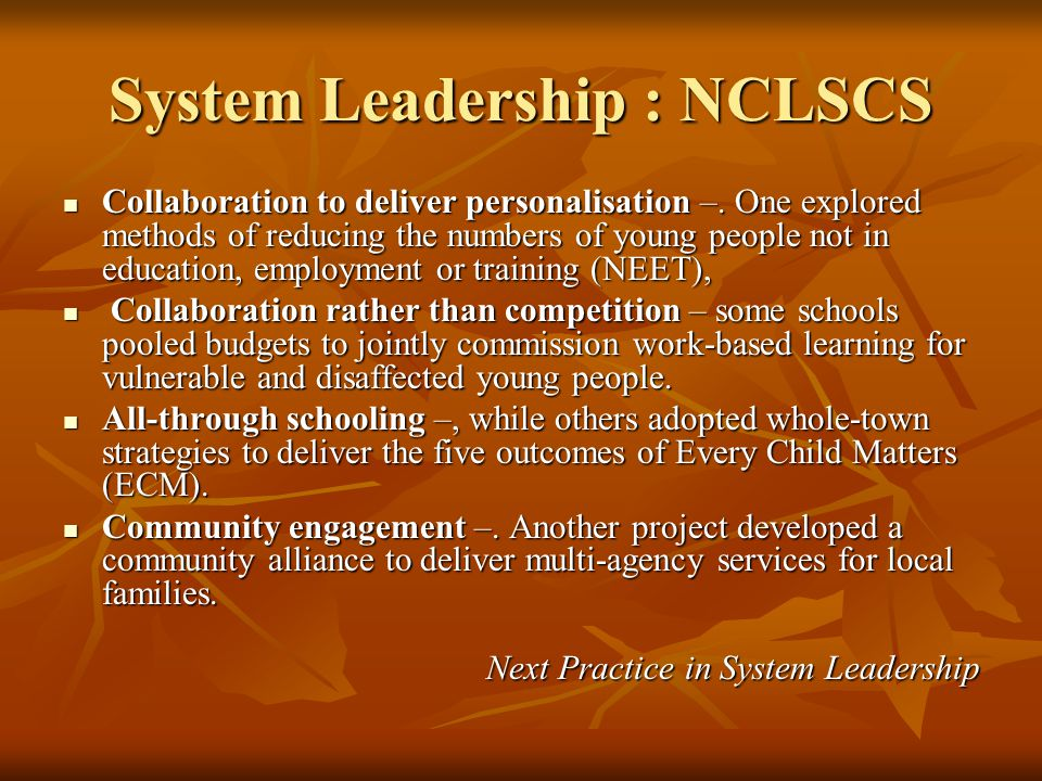 System Leadership : NCLSCS Collaboration to deliver personalisation –. One explored methods of reducing the numbers of young people not in education,