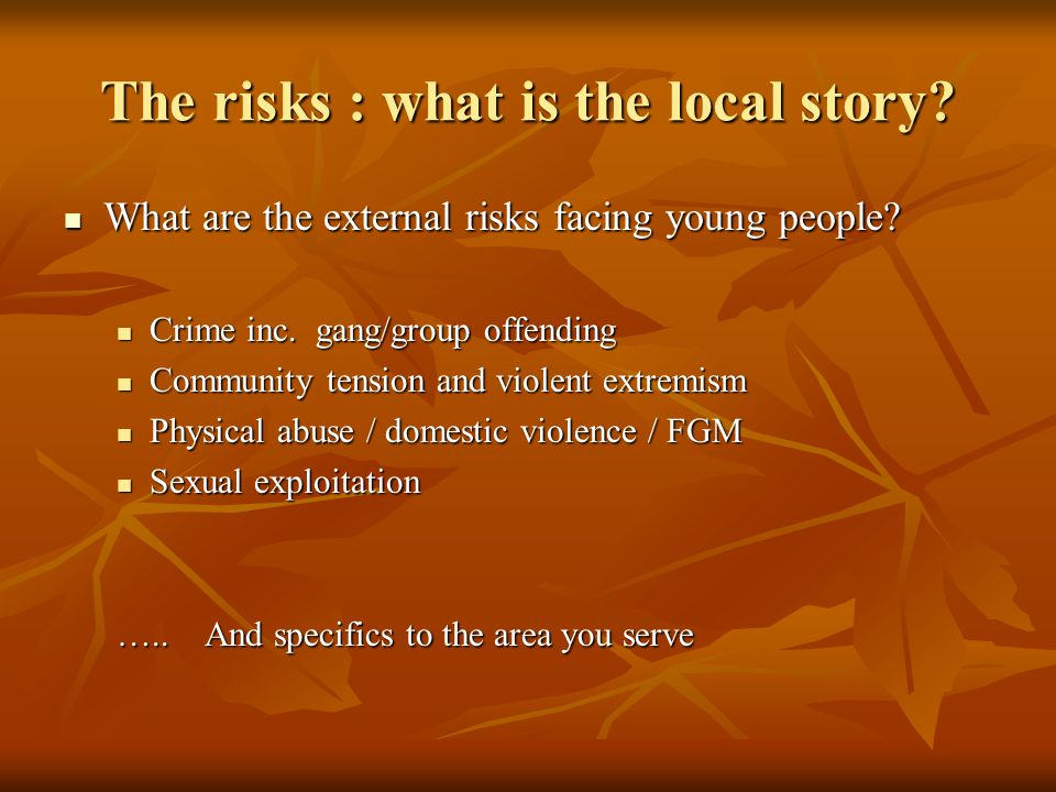 Youth Justice : snapshot 140,000 8-17 in YOT contact 140,000 8-17 in YOT contact 2500 in custody (c 150 long term) 2500 in custody (c 150 long term) Girls 26% of offending Girls 26% of offending 2% of offenders cause 20% of offences 2% of offenders cause 20% of offences Key Offences Violence against person 35% Violence against person 35% Shoplifting 18% Shoplifting 18% Criminal damage 20% Criminal damage 20% Vehicle 5% Vehicle 5% Burglary 5% Burglary 5% Key Times 4-6pm Dec – Feb Summer months