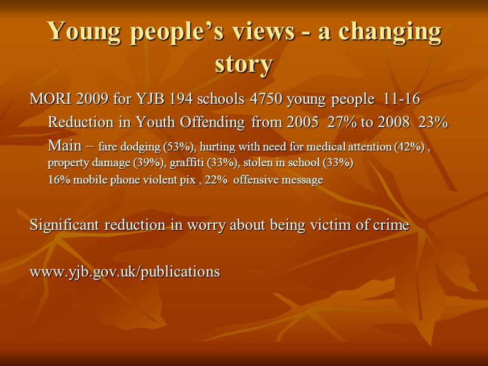 Young people's views - a changing story MORI 2009 for YJB 194 schools 4750 young people 11-16 Reduction in Youth Offending from 2005 27% to 2008 23% Main – fare dodging (53%), hurting with need for medical attention (42%), property damage (39%), graffiti (33%), stolen in school (33%) 16% mobile phone violent pix, 22% offensive message Significant reduction in worry about being victim of crime www.yjb.gov.uk/publications