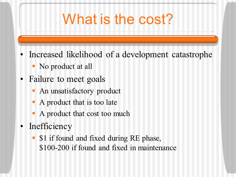 What is the cost? Increased likelihood of a development catastrophe  No product at all Failure to meet goals  An unsatisfactory product  A product