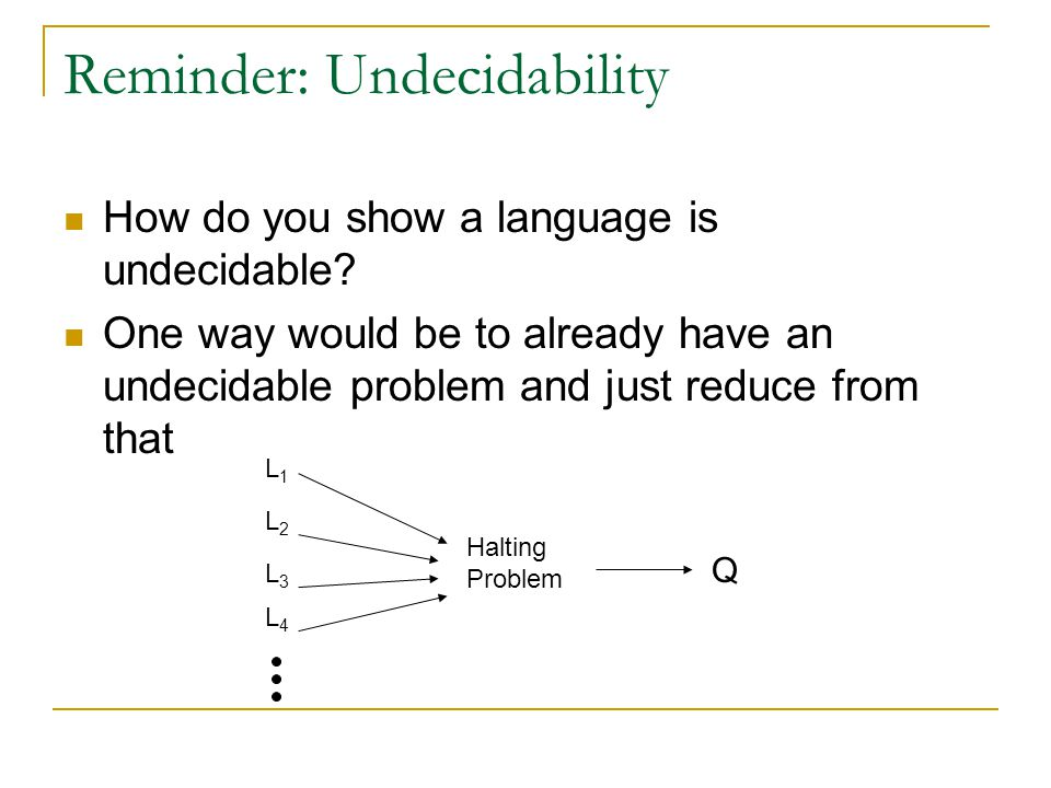 Reminder: Undecidability How do you show a language is undecidable? One way would be to already have an undecidable problem and just reduce from that