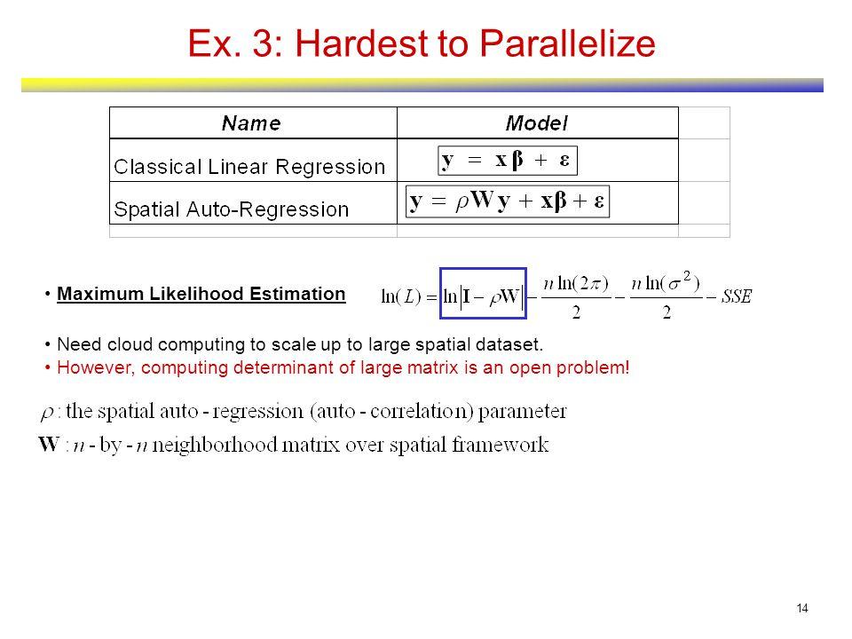14 Ex. 3: Hardest to Parallelize Maximum Likelihood Estimation Need cloud computing to scale up to large spatial dataset. However, computing determina