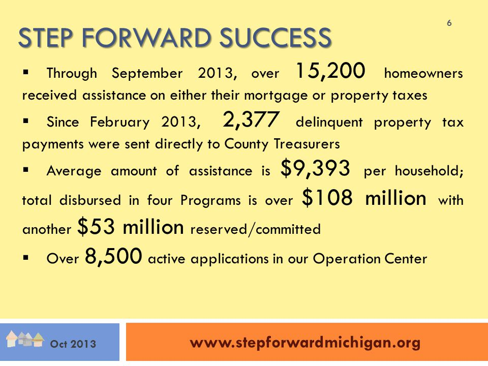 STEP FORWARD SUCCESS www.stepforwardmichigan.org Oct 2013  Through September 2013, over 15,200 homeowners received assistance on either their mortgage or property taxes  Since February 2013, 2,377 delinquent property tax payments were sent directly to County Treasurers  Average amount of assistance is $9,393 per household; total disbursed in four Programs is over $108 million with another $53 million reserved/committed  Over 8,500 active applications in our Operation Center 6