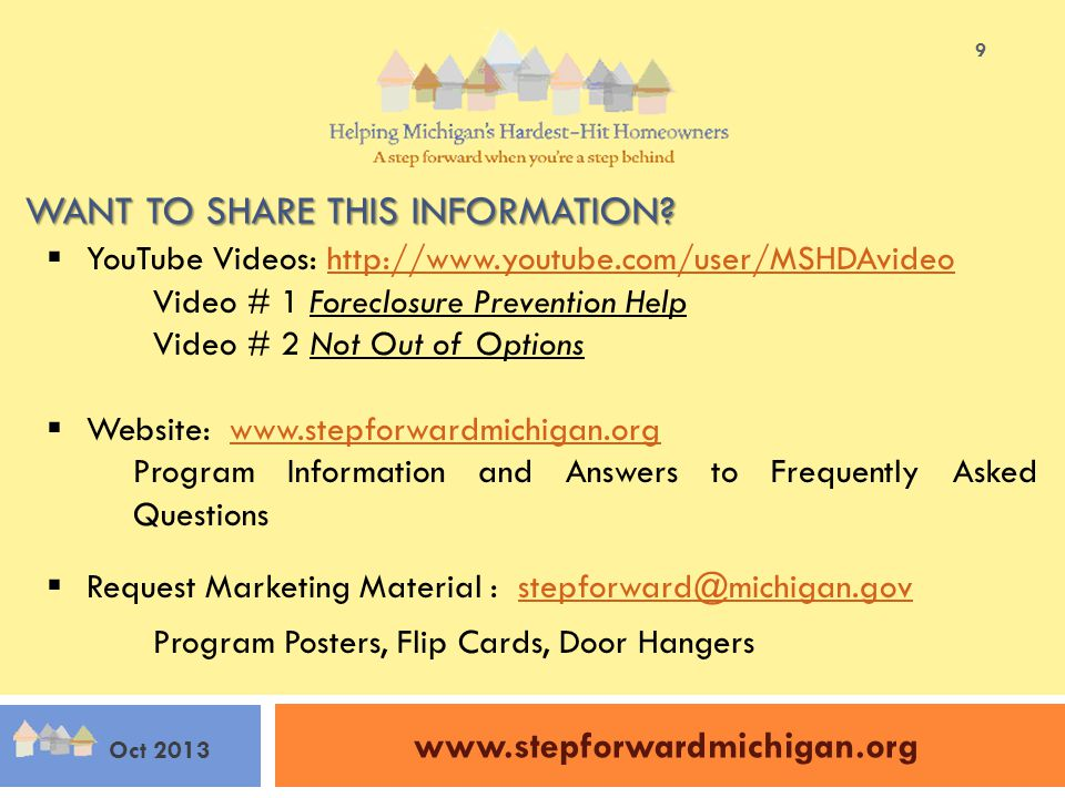 www.stepforwardmichigan.org Oct 2013 9 WANT TO SHARE THIS INFORMATION.