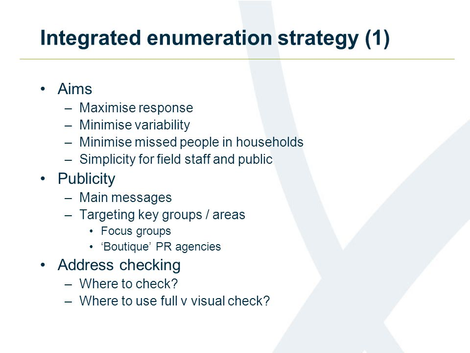Integrated enumeration strategy (1) Aims –Maximise response –Minimise variability –Minimise missed people in households –Simplicity for field staff and public Publicity –Main messages –Targeting key groups / areas Focus groups 'Boutique' PR agencies Address checking –Where to check.