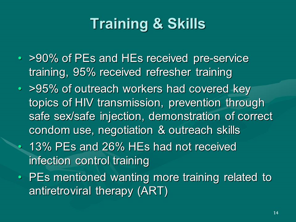 14 Training & Skills >90% of PEs and HEs received pre-service training, 95% received refresher training>90% of PEs and HEs received pre-service training, 95% received refresher training >95% of outreach workers had covered key topics of HIV transmission, prevention through safe sex/safe injection, demonstration of correct condom use, negotiation & outreach skills>95% of outreach workers had covered key topics of HIV transmission, prevention through safe sex/safe injection, demonstration of correct condom use, negotiation & outreach skills 13% PEs and 26% HEs had not received infection control training13% PEs and 26% HEs had not received infection control training PEs mentioned wanting more training related to antiretroviral therapy (ART)PEs mentioned wanting more training related to antiretroviral therapy (ART)