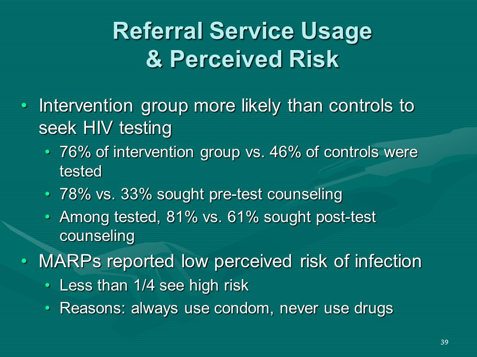 39 Referral Service Usage & Perceived Risk Intervention group more likely than controls to seek HIV testingIntervention group more likely than controls to seek HIV testing 76% of intervention group vs.