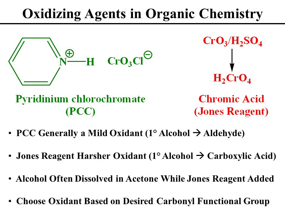 Oxidizing Agents in Organic Chemistry PCC Generally a Mild Oxidant (1° Alcohol  Aldehyde) Jones Reagent Harsher Oxidant (1° Alcohol  Carboxylic Acid