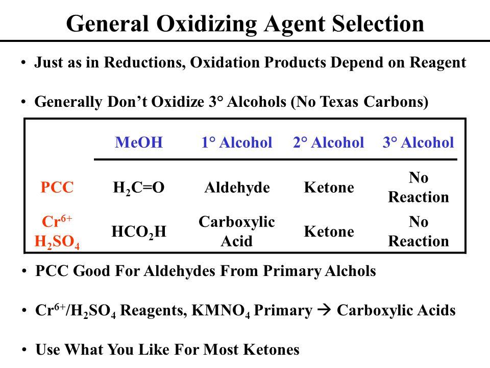 General Oxidizing Agent Selection MeOH1° Alcohol2° Alcohol3° Alcohol PCCH 2 C=OAldehydeKetone No Reaction Cr 6+ H 2 SO 4 HCO 2 H Carboxylic Acid Keton