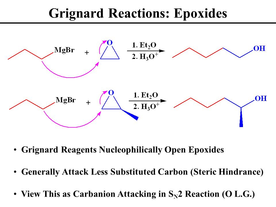 Grignard Reactions: Epoxides Grignard Reagents Nucleophilically Open Epoxides Generally Attack Less Substituted Carbon (Steric Hindrance) View This as