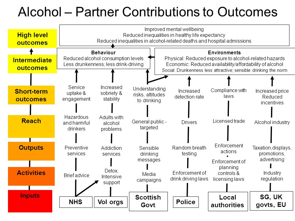 Alcohol – Partner Contributions to Outcomes Inputs Activities Outputs Reach Short-term outcomes Intermediate outcomes High level outcomes NHS Brief advice Preventive services Hazardous and harmful drinkers Service uptake & engagement Police Enforcement of drink driving laws Random breath testing Drivers Increased detection rate Local authorities Enforcement of planning controls & licensing laws Enforcement actions Licensed trade Compliance with laws Behaviour Reduced alcohol consumption levels Less drunkenness; less drink-driving Improved mental wellbeing Reduced inequalities in healthy life expectancy Reduced inequalities in alcohol-related deaths and hospital admissions Environments Physical: Reduced exposure to alcohol-related hazards Economic: Reduced availability/affordability of alcohol Social: Drunkenness less attractive; sensible drinking the norm SG, UK govts, EU Industry regulation Taxation,displays, promotions, advertising Alcohol industry Increased price Reduced incentives Scottish Govt Media campaigns Sensible drinking messages General public - targeted Understanding risks, attitudes to drinking Vol orgs Detox, Intensive support Addiction services Adults with alcohol problems Increased sobriety & stability