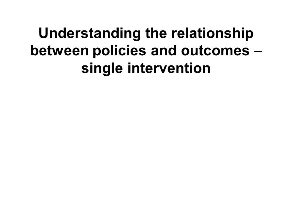 Understanding the relationship between policies and outcomes – single intervention