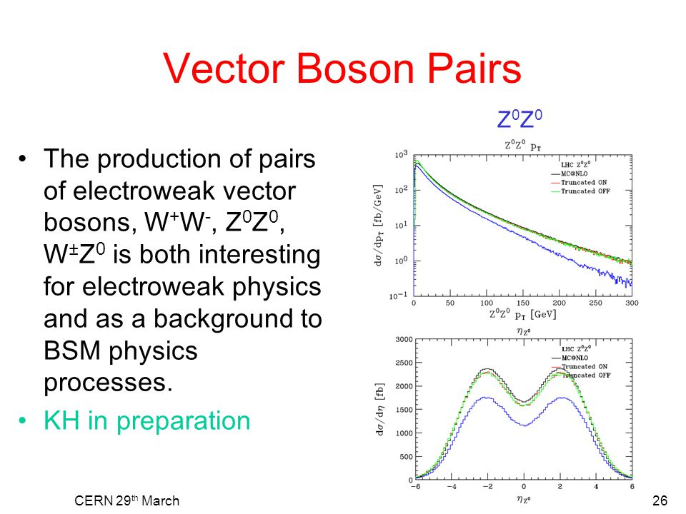 Vector Boson Pairs The production of pairs of electroweak vector bosons, W + W -, Z 0 Z 0, W ± Z 0 is both interesting for electroweak physics and as