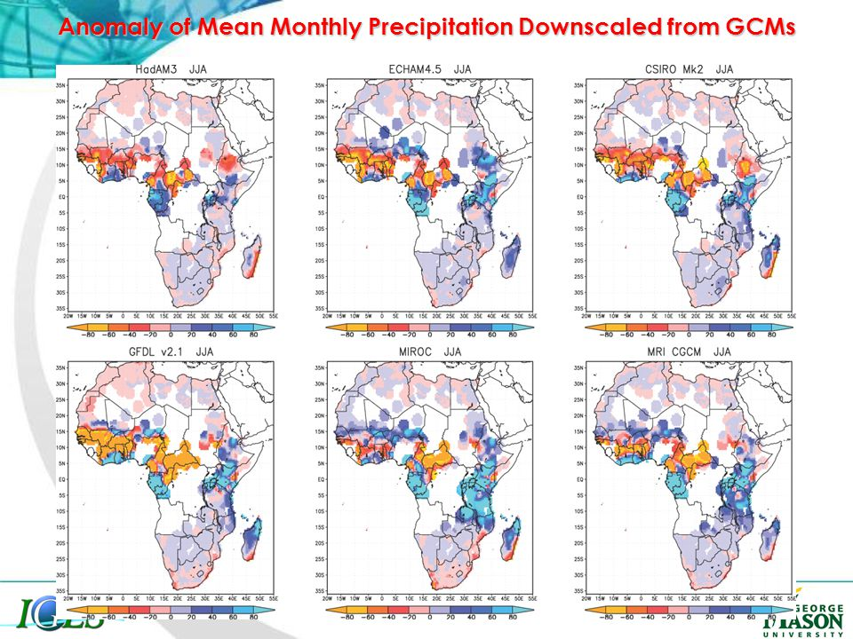 Anomaly of Mean Monthly Precipitation Downscaled from GCMs
