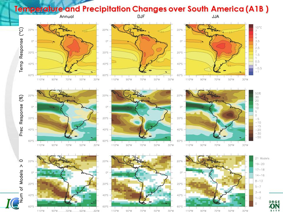 Temperature and Precipitation Changes over South America (A1B )