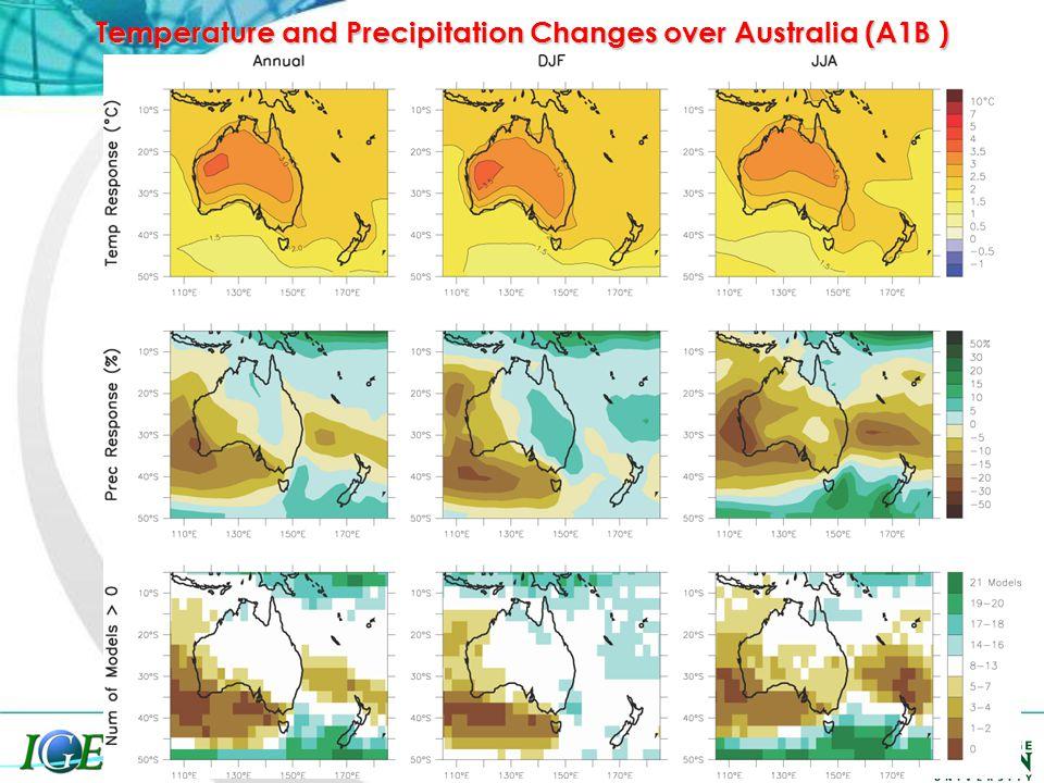 Temperature and Precipitation Changes over Australia (A1B )