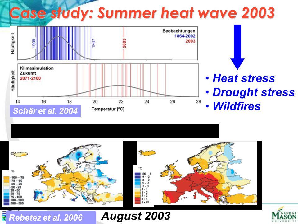 Case study: Summer heat wave 2003 Schär et al. 2004 Rebetez et al.