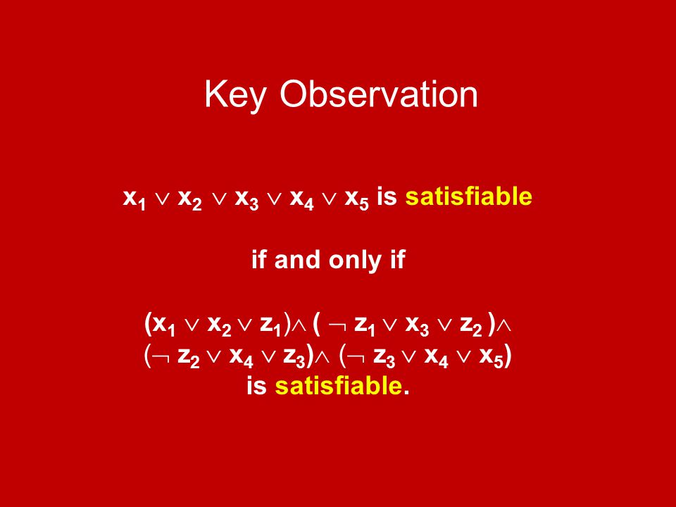 Key Observation x 1  x 2  x 3  x 4  x 5 is satisfiable if and only if (x 1  x 2  z 1 )  (  z 1  x 3  z 2 )  (  z 2  x 4  z 3 )  (  z 3
