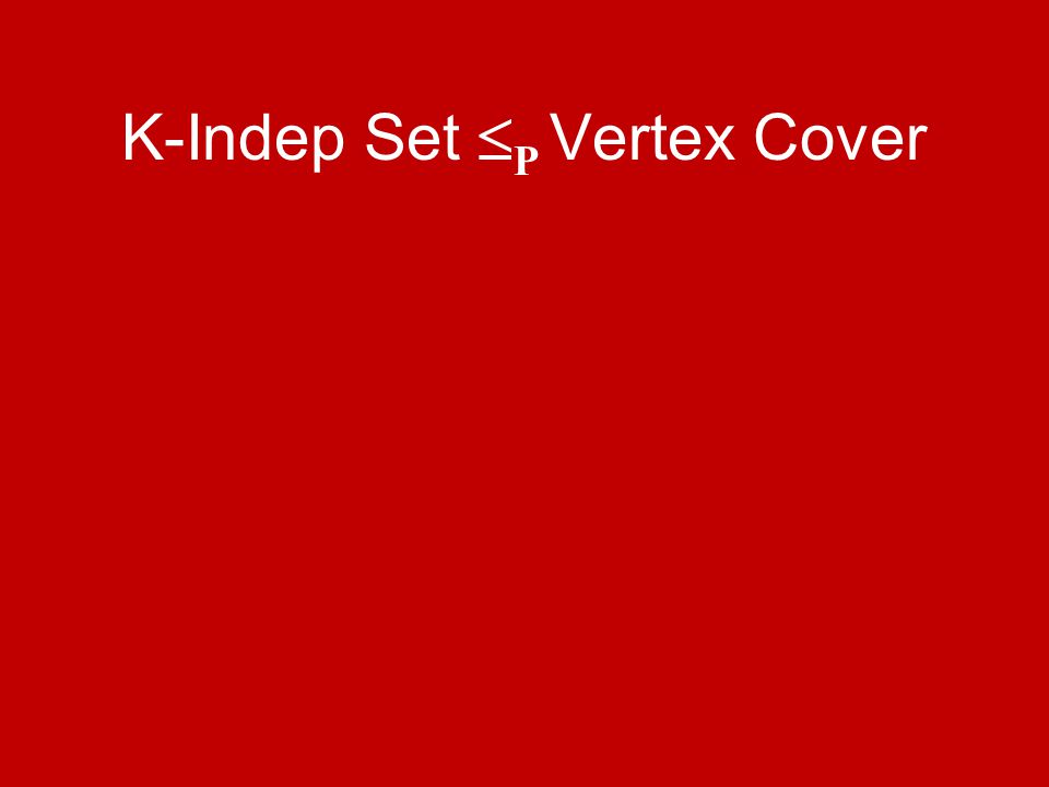 K-Indep Set  P Vertex Cover
