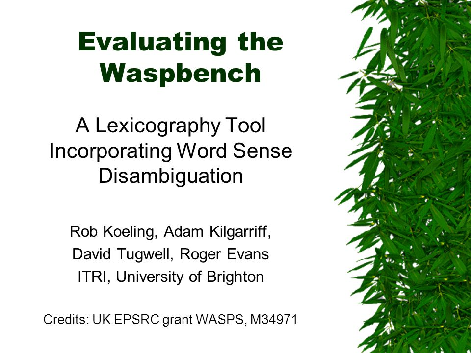 Evaluating the Waspbench A Lexicography Tool Incorporating Word Sense Disambiguation Rob Koeling, Adam Kilgarriff, David Tugwell, Roger Evans ITRI, University of Brighton Credits: UK EPSRC grant WASPS, M34971
