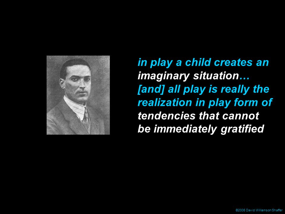 in play a child creates an imaginary situation… [and] all play is really the realization in play form of tendencies that cannot be immediately gratified