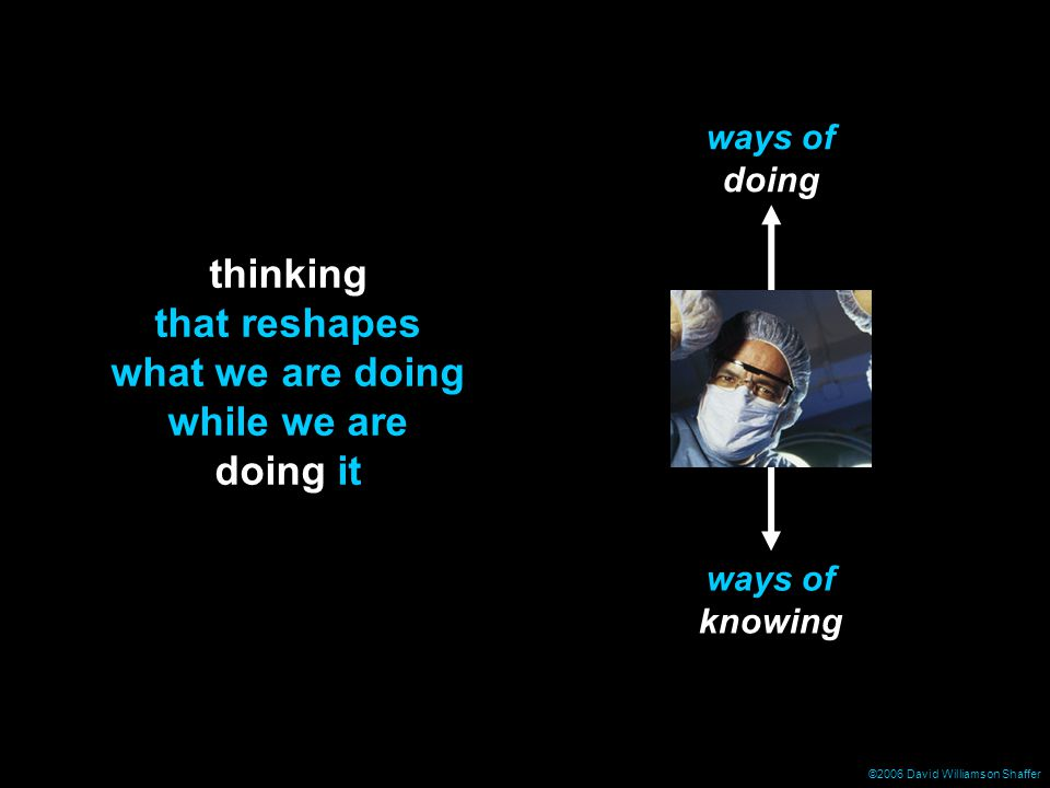 ©2006 David Williamson Shaffer ways of doing ways of knowing thinking that reshapes what we are doing while we are doing it