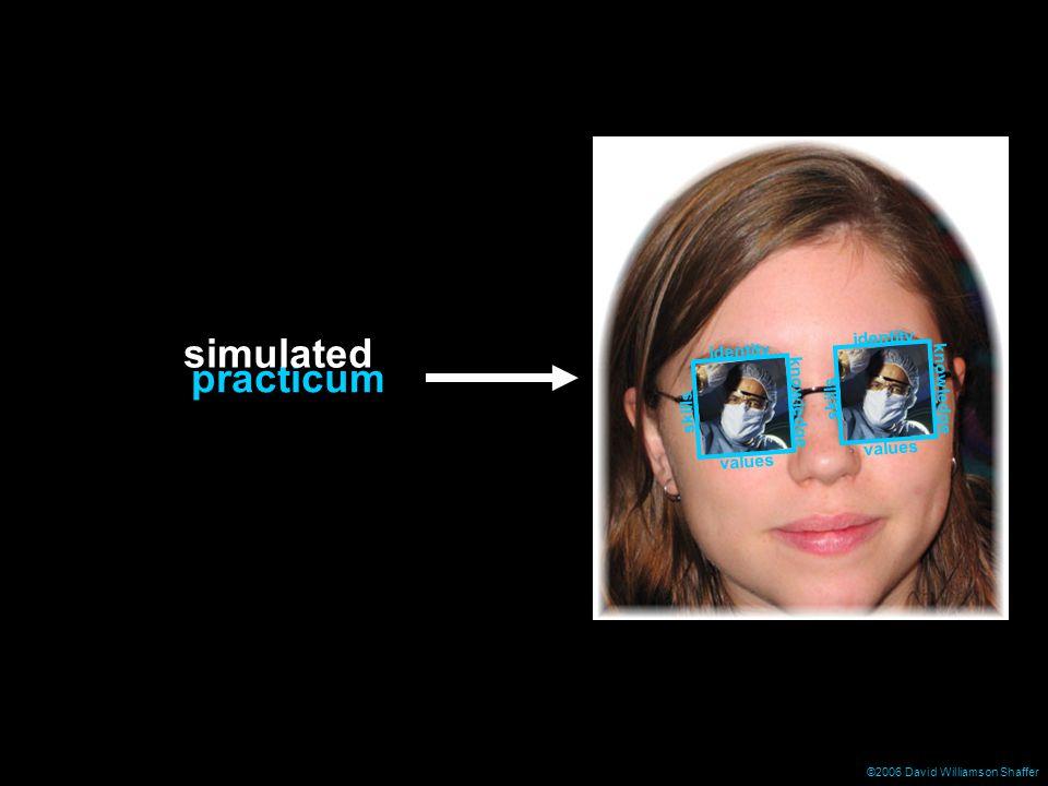©2006 David Williamson Shaffer identity skills knowledge values knowledge identity skills values practicum simulated