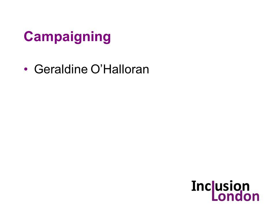 Campaigning Geraldine O'Halloran