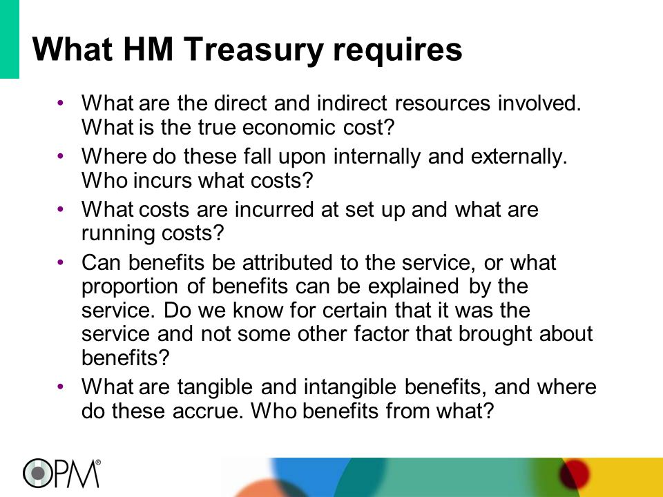What HM Treasury requires What are the direct and indirect resources involved.