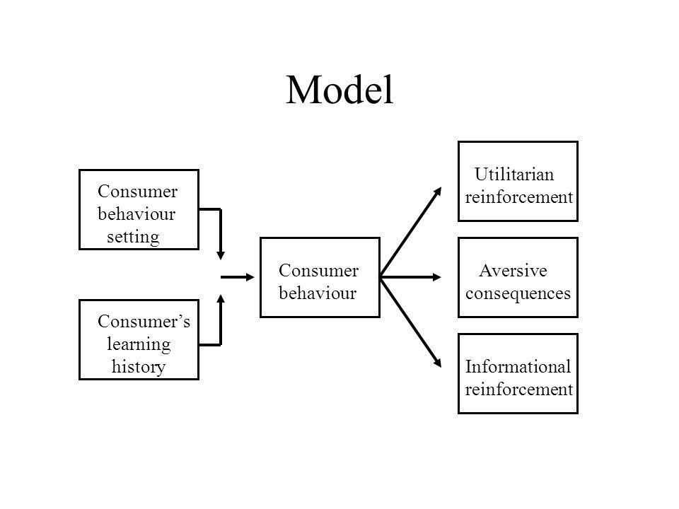 Model Consumer behaviour setting Consumer's learning history Consumer behaviour Aversive consequences Utilitarian reinforcement Informational reinforcement