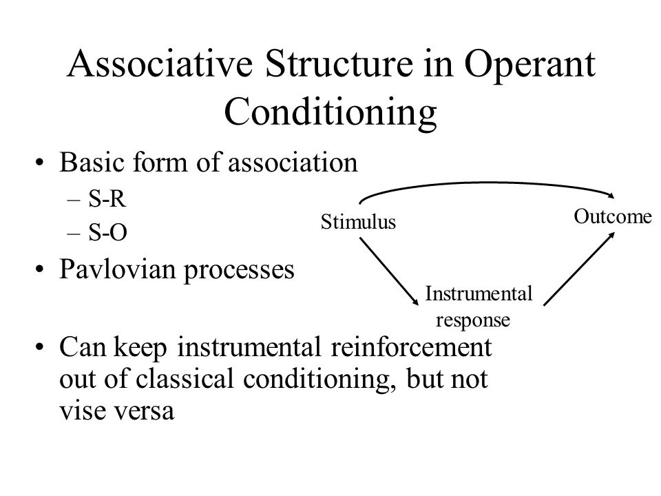 Associative Structure in Operant Conditioning Basic form of association –S-R –S-O Pavlovian processes Can keep instrumental reinforcement out of classical conditioning, but not vise versa Stimulus Outcome Instrumental response