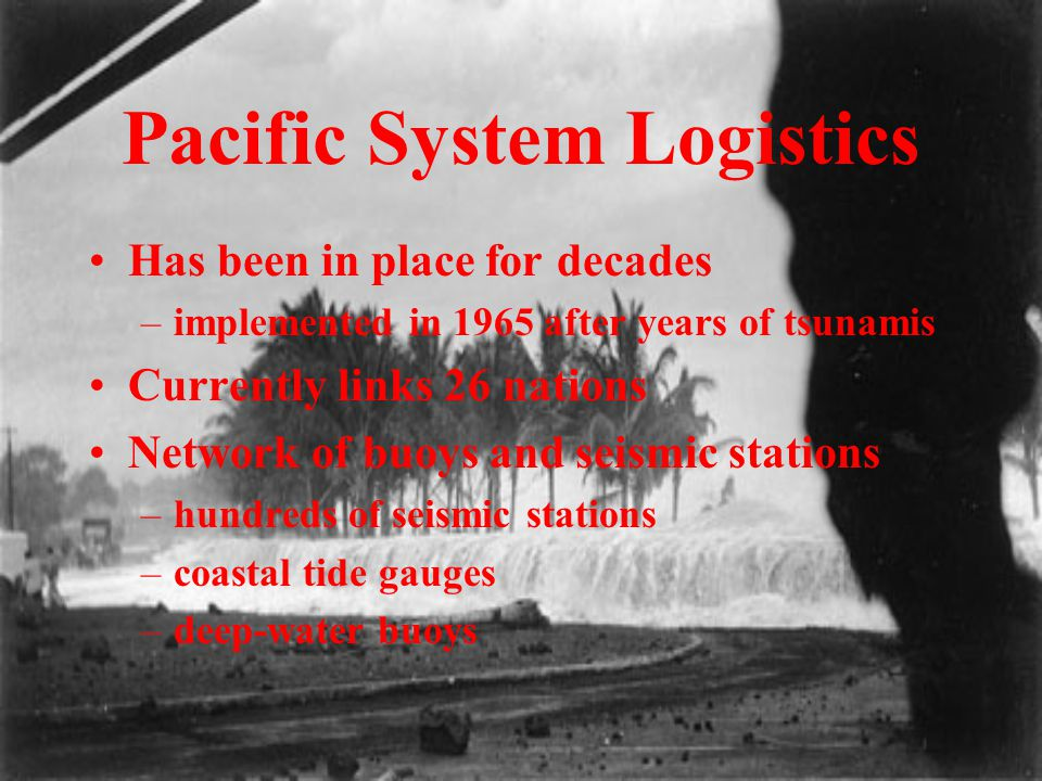 Pacific System Logistics Has been in place for decades –implemented in 1965 after years of tsunamis Currently links 26 nations Network of buoys and se