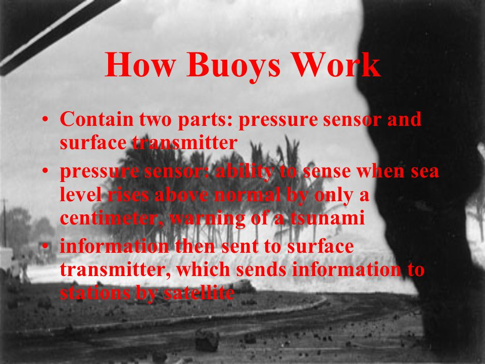 How Buoys Work Contain two parts: pressure sensor and surface transmitter pressure sensor: ability to sense when sea level rises above normal by only
