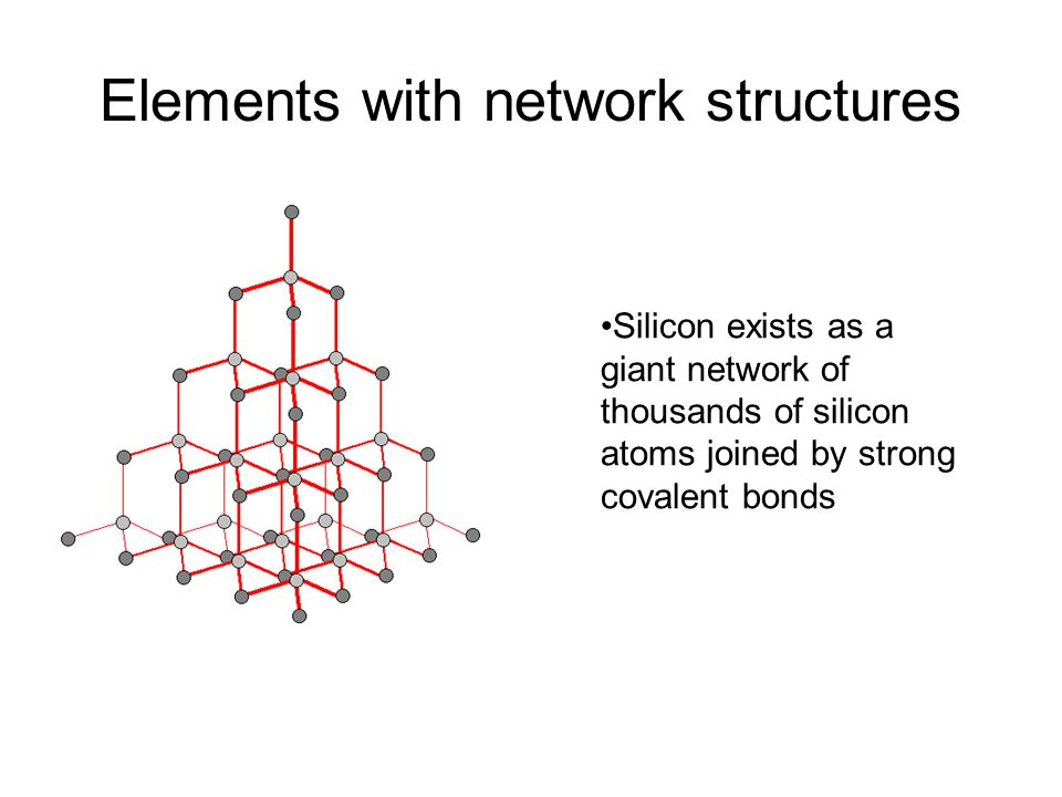 Elements with network structures Silicon exists as a giant network of thousands of silicon atoms joined by strong covalent bonds