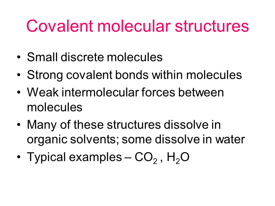 Covalent network structures Giant repeating lattices of very many covalently bonded atoms Insoluble solids with high melting and boiling points Typical example is SiO 2
