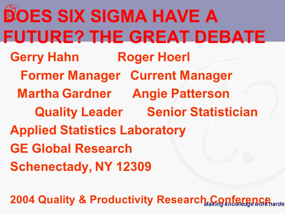 Making knowledge work harder 1 DOES SIX SIGMA HAVE A FUTURE.
