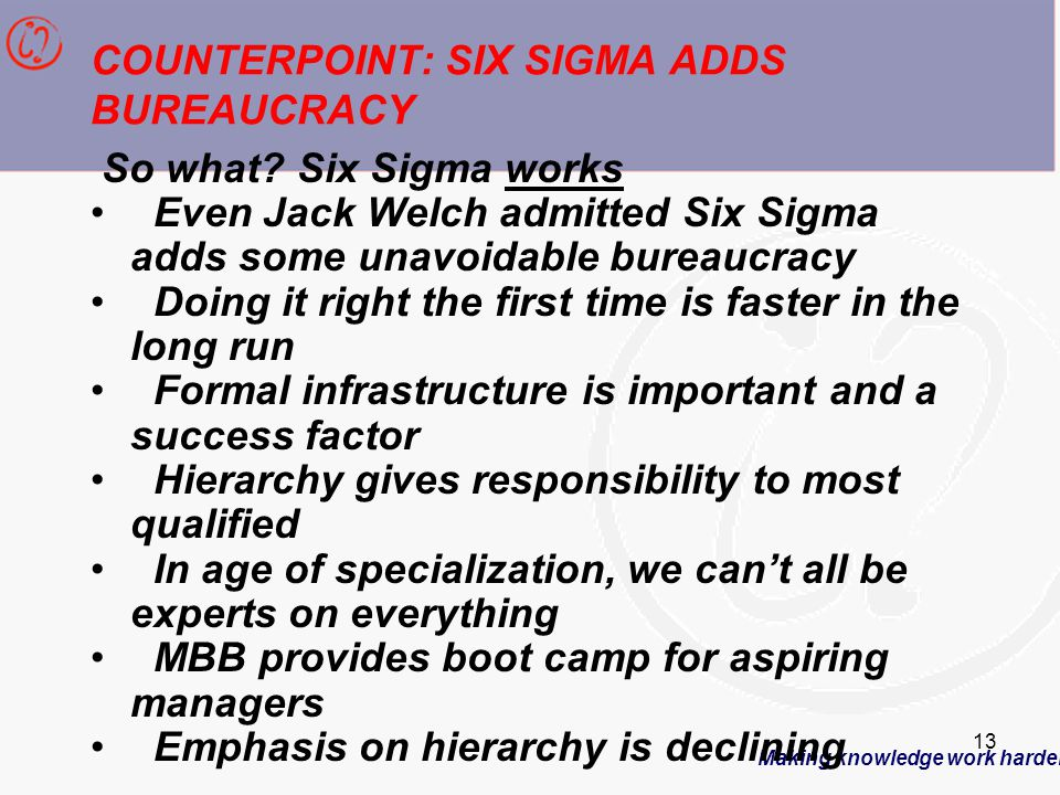 Making knowledge work harder 13 COUNTERPOINT: SIX SIGMA ADDS BUREAUCRACY So what.