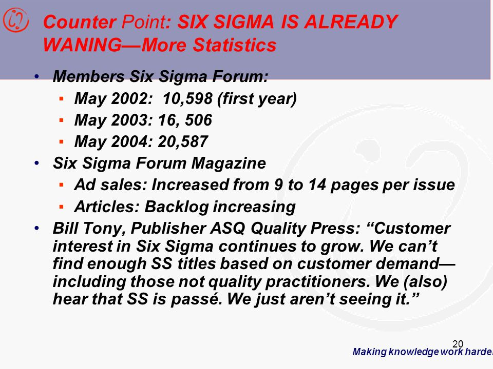 Making knowledge work harder 20 Counter Point: SIX SIGMA IS ALREADY WANING—More Statistics Members Six Sigma Forum: ▪May 2002: 10,598 (first year) ▪May 2003: 16, 506 ▪May 2004: 20,587 Six Sigma Forum Magazine ▪Ad sales: Increased from 9 to 14 pages per issue ▪Articles: Backlog increasing Bill Tony, Publisher ASQ Quality Press: Customer interest in Six Sigma continues to grow.