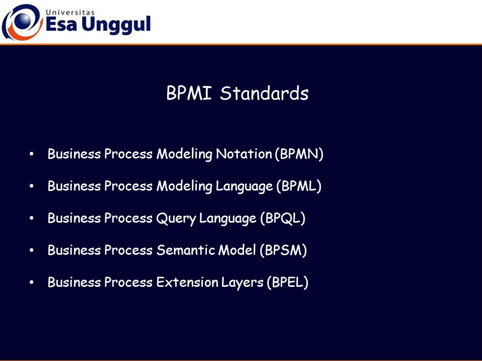 BPMI Standards Business Process Modeling Notation (BPMN) Business Process Modeling Language (BPML) Business Process Query Language (BPQL) Business Process Semantic Model (BPSM) Business Process Extension Layers (BPEL)