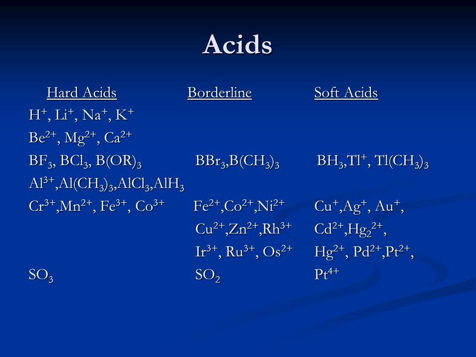 Acids Hard Acids Borderline Soft Acids H +, Li +, Na +, K + Be 2+, Mg 2+, Ca 2+ BF 3, BCl 3, B(OR) 3 BBr 3,B(CH 3 ) 3 BH 3,Tl +, Tl(CH 3 ) 3 Al 3+,Al(CH 3 ) 3,AlCl 3,AlH 3 Cr 3+,Mn 2+, Fe 3+, Co 3+ Fe 2+,Co 2+,Ni 2+ Cu +,Ag +, Au +, Cu 2+,Zn 2+,Rh 3+ Cd 2+,Hg 2 2+, Cu 2+,Zn 2+,Rh 3+ Cd 2+,Hg 2 2+, Ir 3+, Ru 3+, Os 2+ Hg 2+, Pd 2+,Pt 2+, Ir 3+, Ru 3+, Os 2+ Hg 2+, Pd 2+,Pt 2+, SO 3 SO 2 Pt 4+