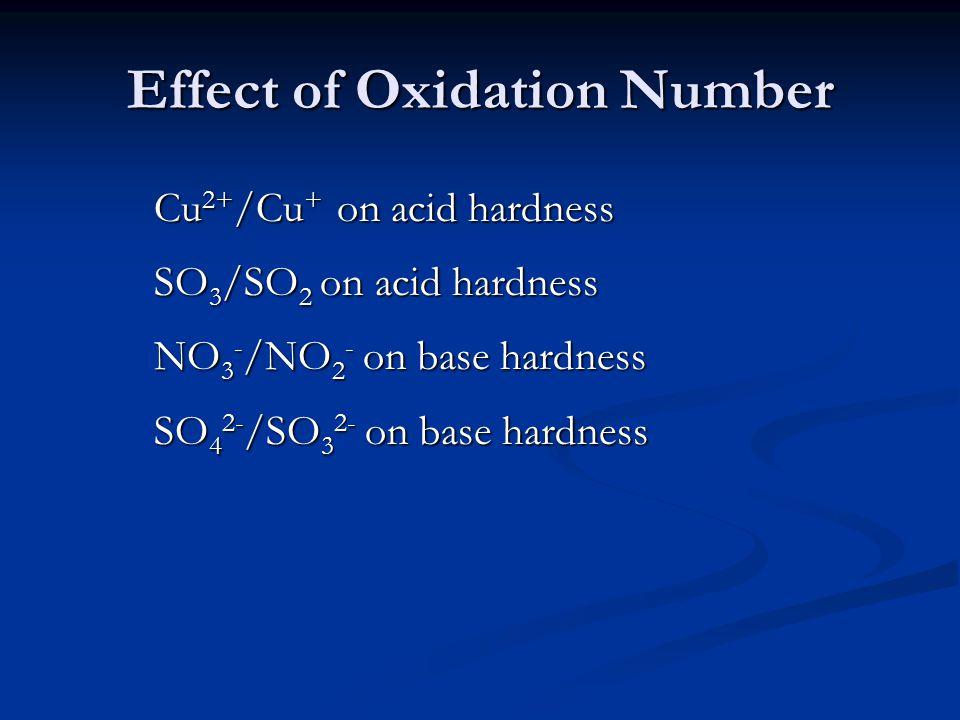 Effect of Oxidation Number Cu 2+ /Cu + on acid hardness SO 3 /SO 2 on acid hardness NO 3 - /NO 2 - on base hardness SO 4 2- /SO 3 2- on base hardness