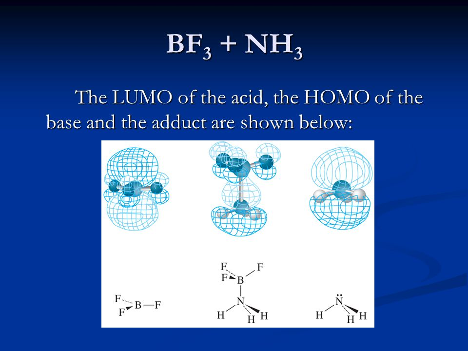 BF 3 + NH 3 The LUMO of the acid, the HOMO of the base and the adduct are shown below: