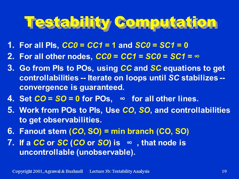 Copyright 2001, Agrawal & BushnellLecture 3b: Testability Analysis19 Testability Computation 1.