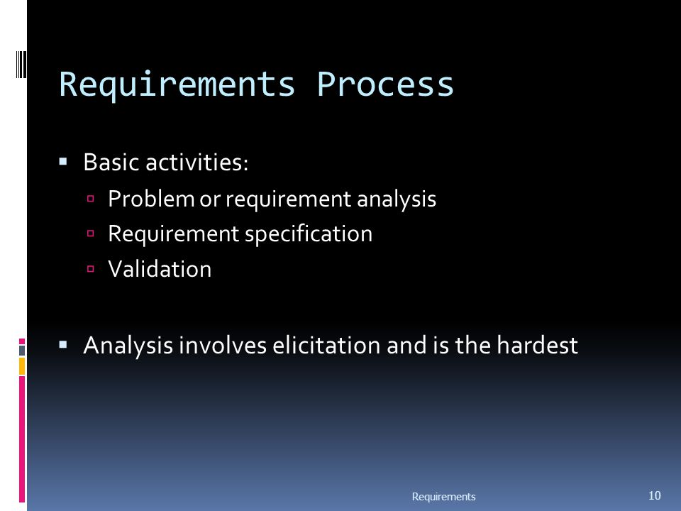 Requirements Process  Basic activities:  Problem or requirement analysis  Requirement specification  Validation  Analysis involves elicitation and is the hardest Requirements 10