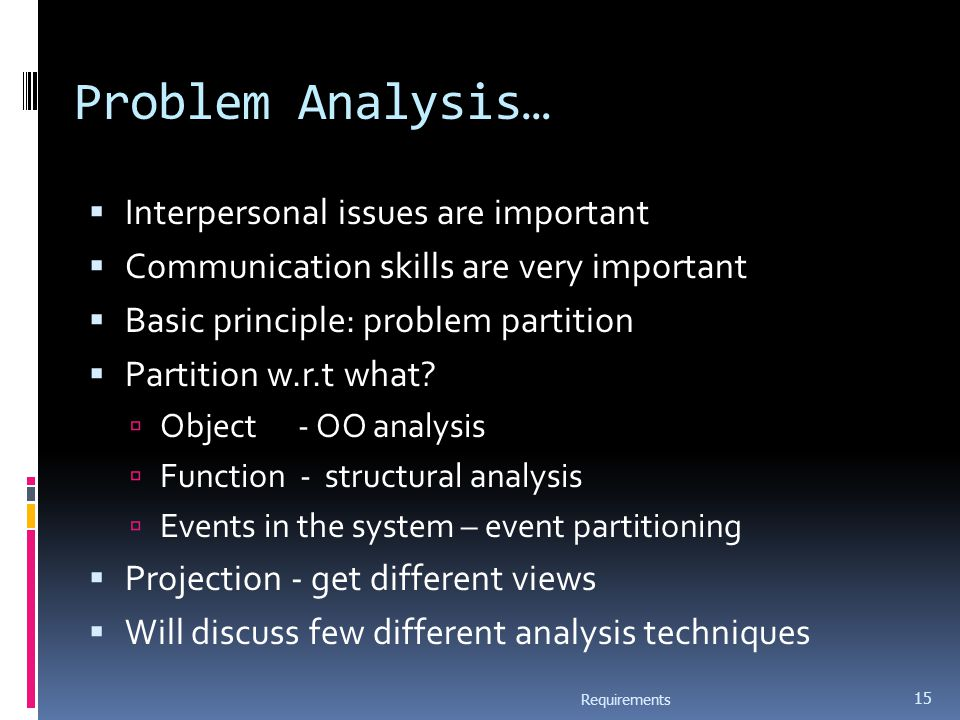 Problem Analysis…  Interpersonal issues are important  Communication skills are very important  Basic principle: problem partition  Partition w.r.