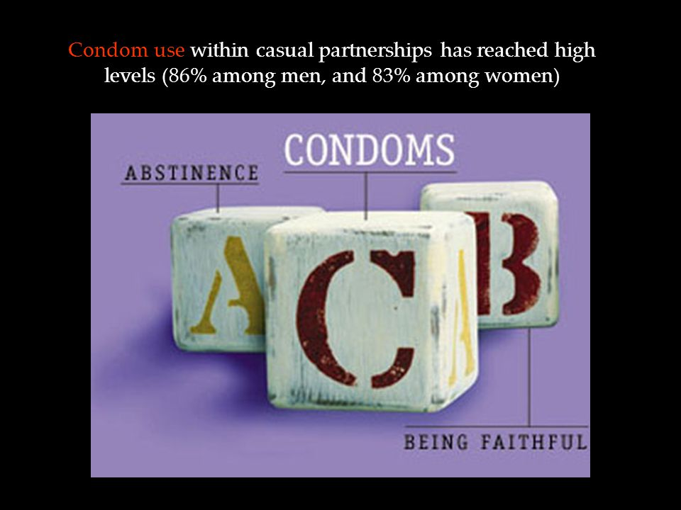Condom use within casual partnerships has reached high levels (86% among men, and 83% among women)