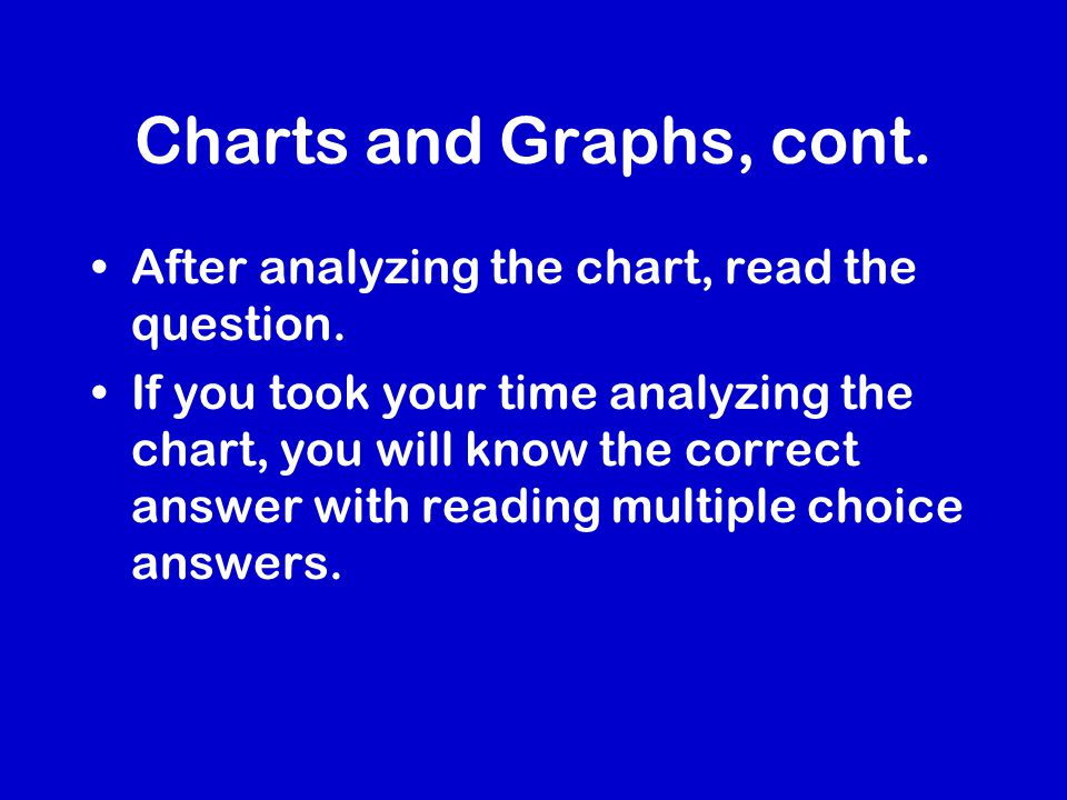 Charts and Graphs, cont.After analyzing the chart, read the question.
