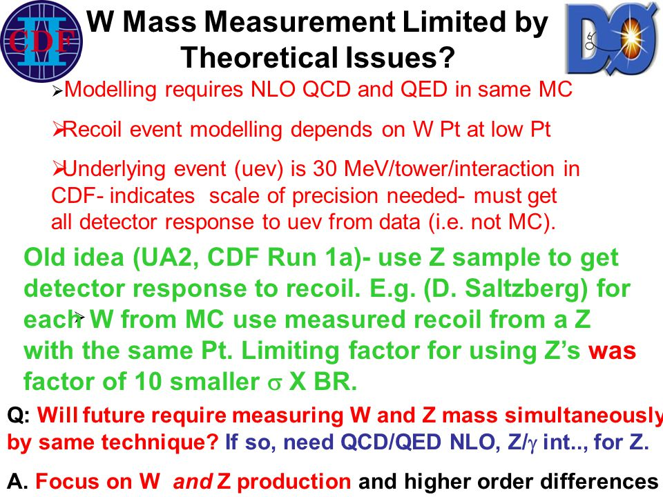   Modelling requires NLO QCD and QED in same MC  Recoil event modelling depends on W Pt at low Pt  Underlying event (uev) is 30 MeV/tower/interaction in CDF- indicates scale of precision needed- must get all detector response to uev from data (i.e.